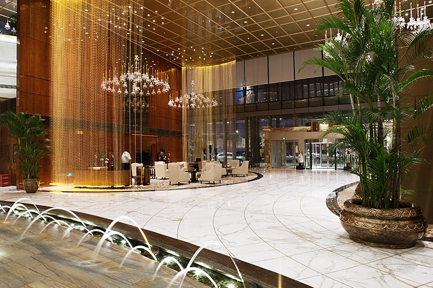 Luxury hotel lobby & restaurant interior
