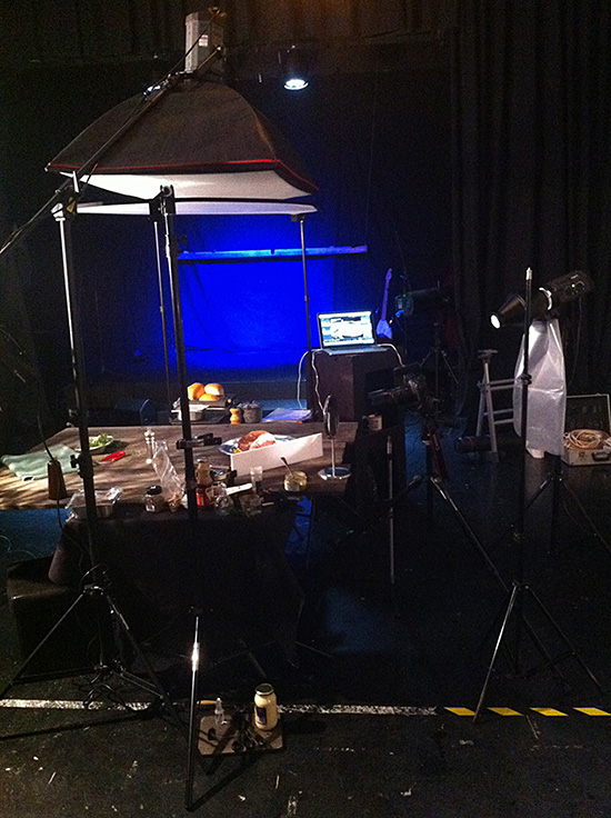A food photography studio table-top setup by Paul Williams of Gold Coast Food Photography, Australia