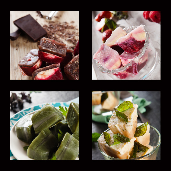 Pod Essence collage-Various ice cube meal starters and treats 2. Photography by Paul Williams, Gold Coast & Brisbane food photographer