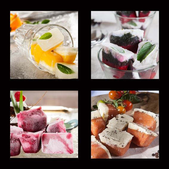 Pod Essence collage-Various ice cube meal starters and treats 3. Photography by Paul Williams, Gold Coast & Brisbane food photographer