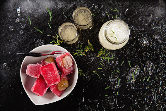 Pod essence olive-infused ice cubes