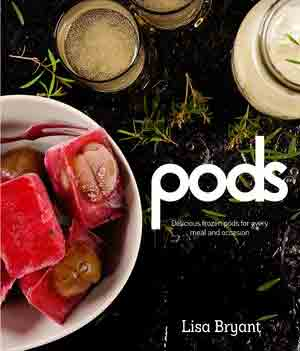 'Pods' cookbook cover image showing frozen ice-cube creations and drinks from above on a black ice tabletop.