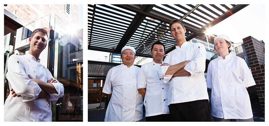 Portraits of Chef Steven and his team of Chefs at Kennigo House restaurant in Brisbane.
