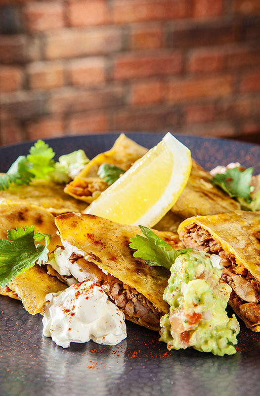 A quesadilla dish created by Chef Steven at Kennigo House restaurant in Brisbane.